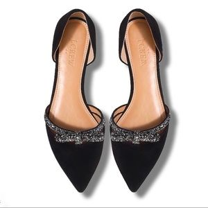 NWOB J. Crew D'orsay flats with glitter bow❤️